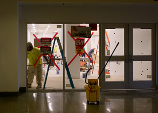 Work continues on classroom improvement projects inside White Hall. Photo taken July 25, 2017